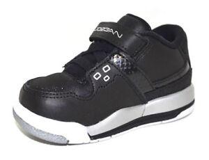nouveaux styles 2e399 0b6d7 Détails sur Nike Air Jordan Flight 23 Chaussures Bébé Noir/Blanc/Argent  Métallique