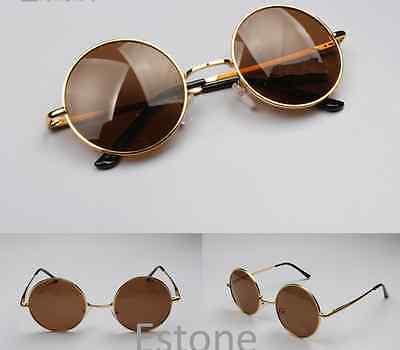Black Retro Lens Vintage Men Women Round Metal Frame Sunglasses Glasses Eyewear
