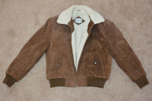 Vtg Saddlery Brown Suede Leather Bomber Sherpa Lin