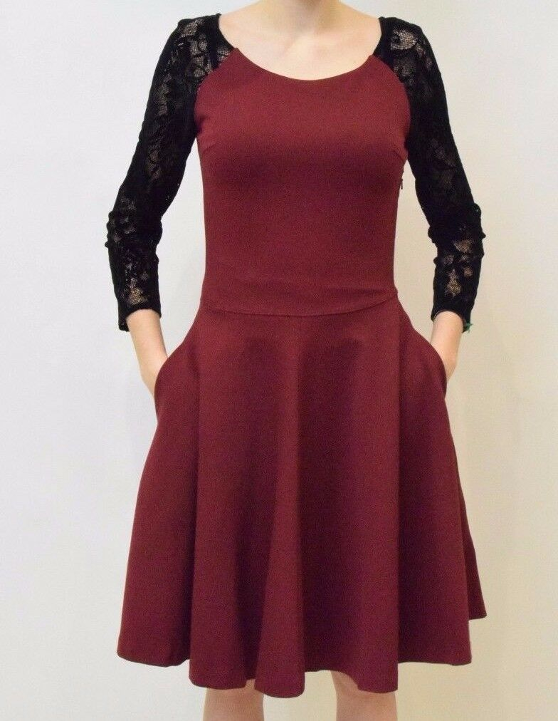 Alice By Temperley Women's Red Mini Solitaire Ponte And Lace Dress Size 14