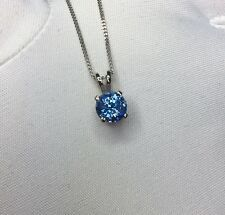 NATURAL 1.27ct Vivid Blue Ceylon Sapphire Pendant 18k White Gold Round Diamond C