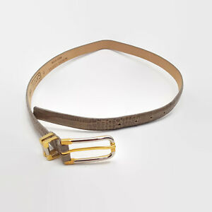 Carlisle-Women-039-s-Tan-Textured-Leather-Belt-With-Silver-amp-Gold-Tone-Buckle-Size-M
