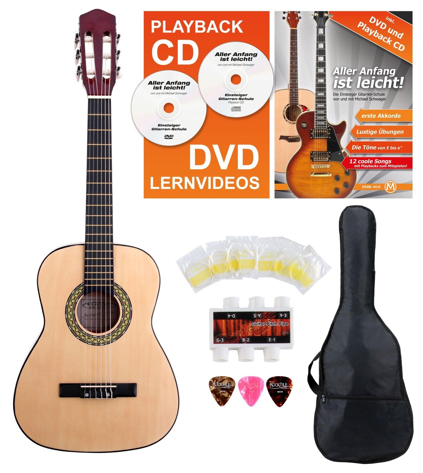 CLASSIC CANTABILE AS-851-L STARTER SET AKUSTIK KLASSIK GITARRE 1/2 LINKSHÄNDER
