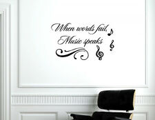 When Words Fail Music Speaks Vinyl Quote Me Wall Art Decals #1663