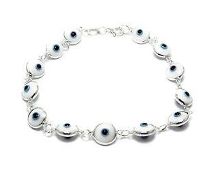 Evil-Eye-White-Crystal-Bracelet-925-Sterling-Silver-Link-Bead-Fashion-Jewelry