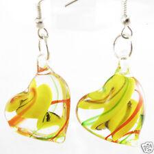 Classic Clear Heart Lampwork Murano Glass Dangle Hook Earrings Jewellry One Pair