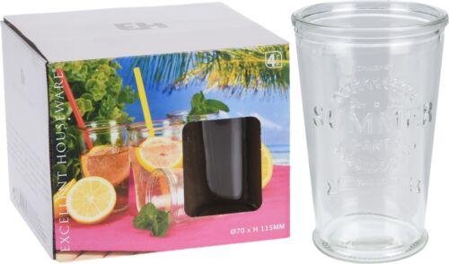 Set of 4 Drinking Glasses Juice Water Coke Lemonade Glasses Party Glasses BBQ