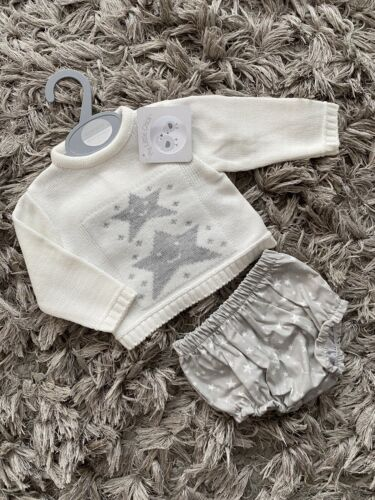 Espagnol baby boys Cream Gris Star Pull Jam Pantalon Tenue NB 0-3 3-6 6-9 mois