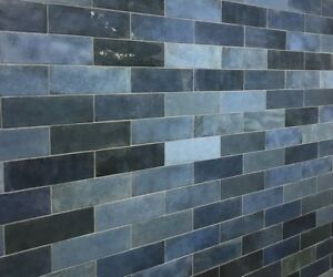 Blue Kitchen Tiles >> Details About Ascot Colonial Blue Kitchen Bathroom Artisan Artisana Artisano 6 5x20cm