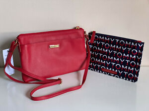 NEW-TOMMY-HILFIGER-RED-LEATHER-CROSSBODY-SLING-BAG-W-WALLET-POUCH-75-SALE