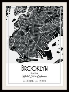 MIAMI CITY MAP POSTER PRINT MODERN CONTEMPORARY CITIES TRAVEL IKEA FRAMES