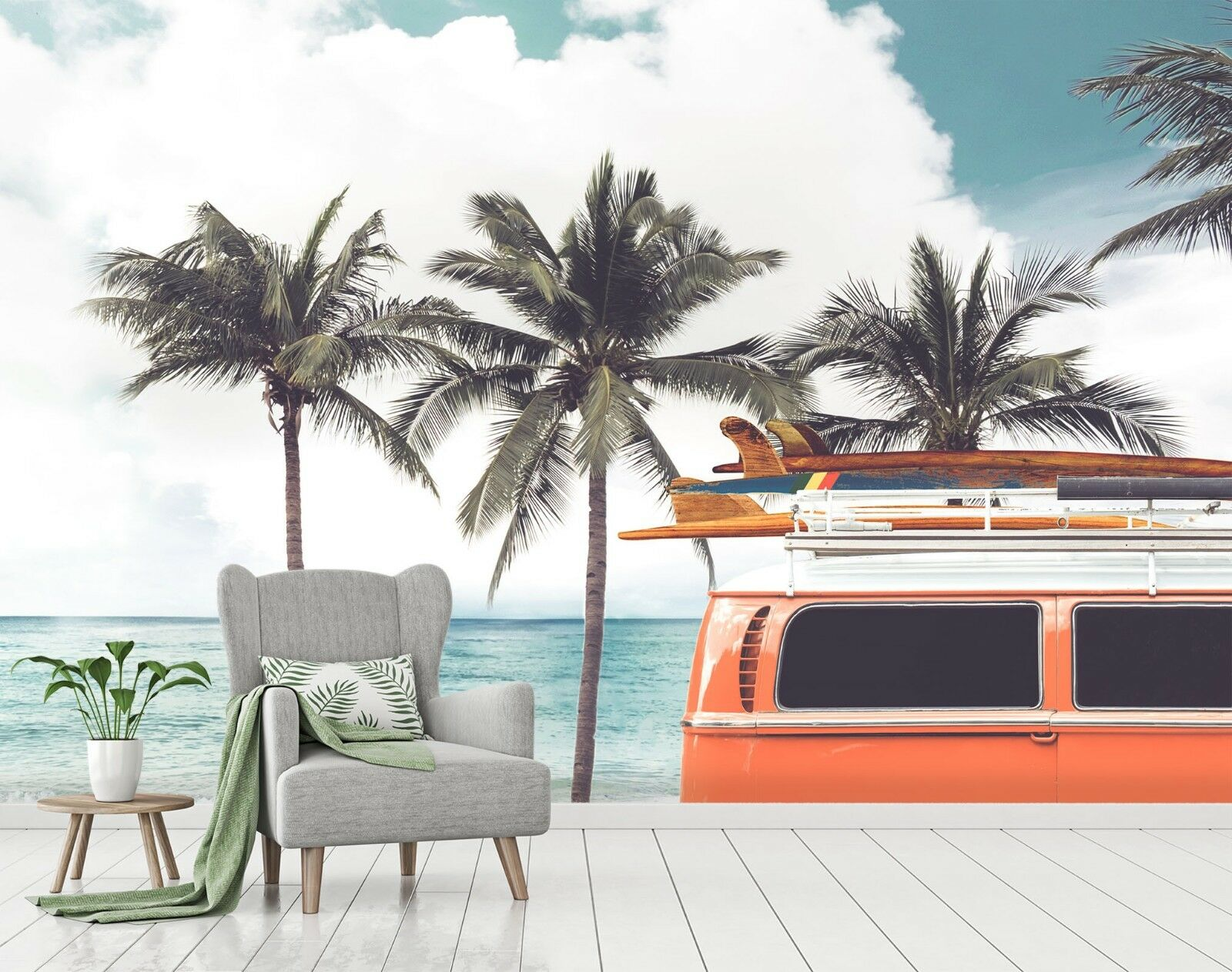 3D Bus Sky Ocean Trees 6 Wall Paper Wall Print Decal Deco Indoor Wall Mural CA