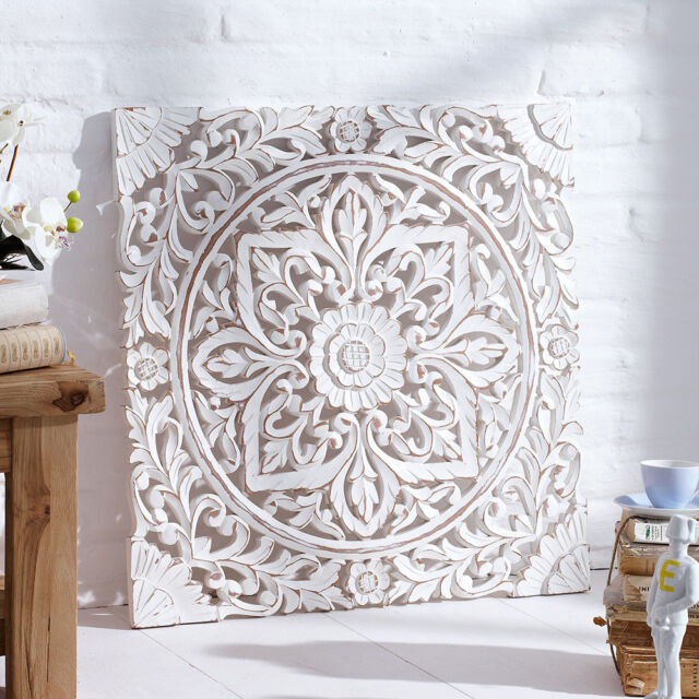 Carved Wooden Wall Panel Distressed White Wall Art Decor Hanging Panels 60x60 cm