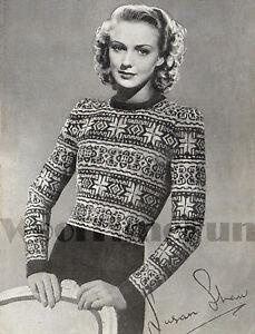Vintage Knitting Pattern Lady/'s Classic Fair Isle//Skiing Sweater//Jumper