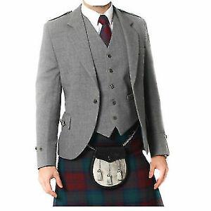 100-WOOL-Argyle-kilt-Jacket-amp-Waistcoat-Vest-Scottish-Argyle-Jacket-Light-Grey
