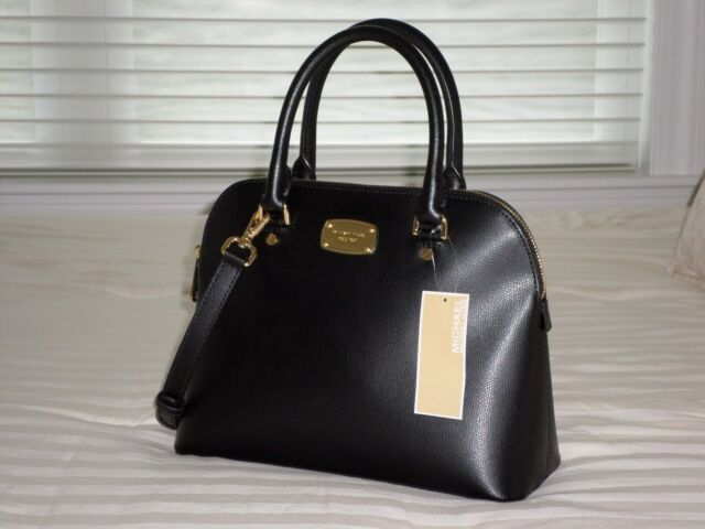 111838a51096bd Michael Kors Cindy Medium Dome Satchel Black Leather 38f6xcps2l for ...