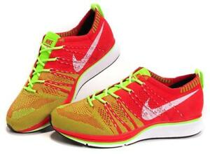 34903d4b9d8ee Image is loading Nike-Flyknit-Trainer-University-Red-Electric-Green-Mens-