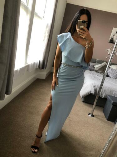 Quiz Light Blue Asymmetric Dress Ball Gown Long Evening Maxi Evening Prom UK ❤