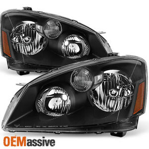 Fits 05-06 Altima Black Headlights Headlamps Left & Right Pair Replacement Set 840960169146