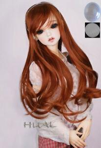 "6-7/"" 1//6 BJD Long Light Reddish Brown Curl Wig LUTS Doll SD DZ DOD MSD Soom Hair"