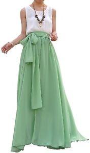 MELANSAY-Womens-Skirt-Mint-Green-Size-Large-L-Belted-Chiffon-Maxi-45-884