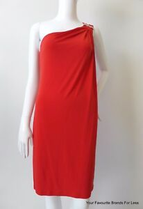 MICHAEL-KORS-NEW-Women-039-s-Dress-Size-Small-One-Shoulder-Red-Grecian-Style-Shift