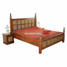 KraftNDecor Ethnic Wooden Double Bed with 2 Bedsides in Brown Colour