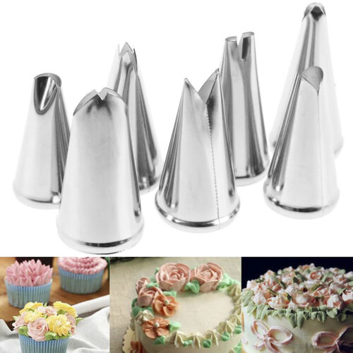 7pcs Decorating Tips Set Leaves Cream Metal Icing Piping Nozzles Pastry Tool G4