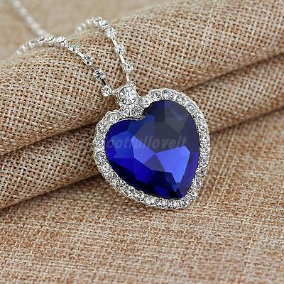 Blue Crystal Pendant Necklace Titanic Heart Of The Ocean Necklace Women Gift