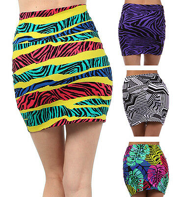 Women's Summer Club Vacation Multi-Print Cotton Bodycon Skirt w/ Fold Over Waist