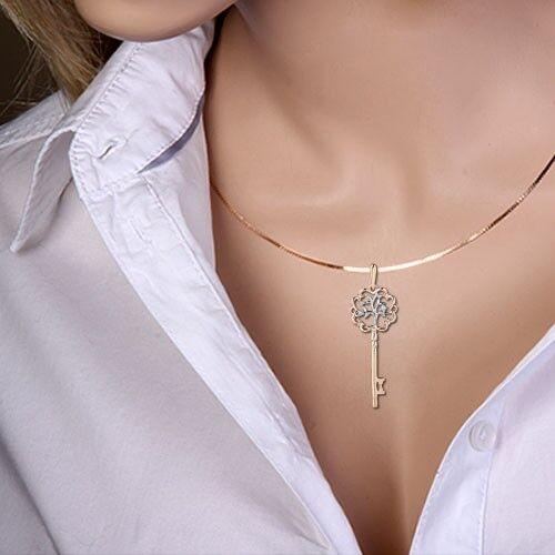 Rotgold 585 Anhänger mit Diamanten Schlüssel des Glücks Hochzeit Geschenk NEU