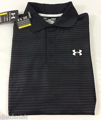 Under Armour MEN'S Athletic Golf Polo Loose Heat Gear Black Lines Size L