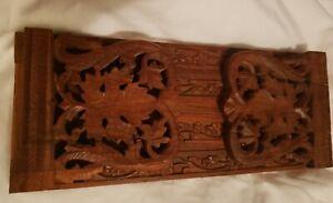 Antique Wooden Extending BookSlide BookendsBlack Forest Asian Floral Design