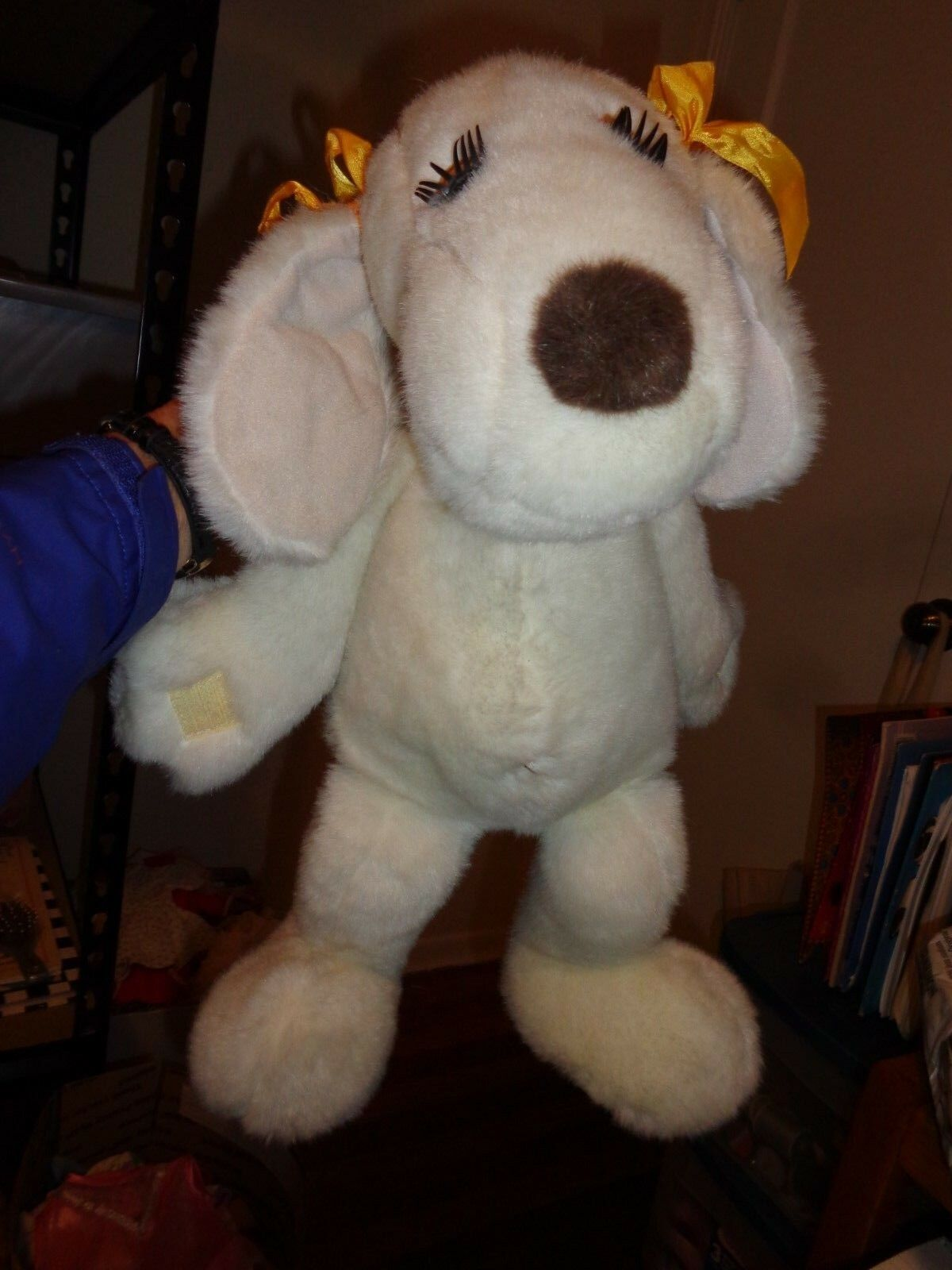 Vintage Kuttie Huddles Puppy Dog 1986 Crown Corp White Stuffed Animal Long Nose