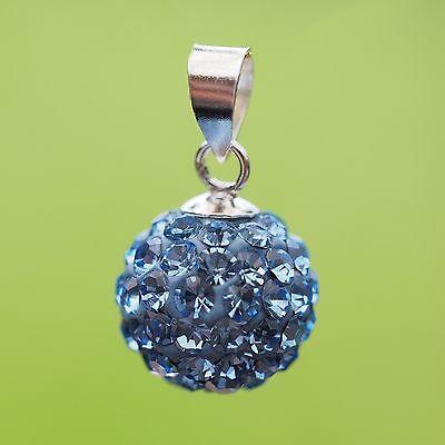 Neu 925 Silber 10mm AnhÄnger Mit Strasssteine Light Sapphire/blau KettenanhÄnger Dinge Bequem Machen FüR Kunden Sonstige