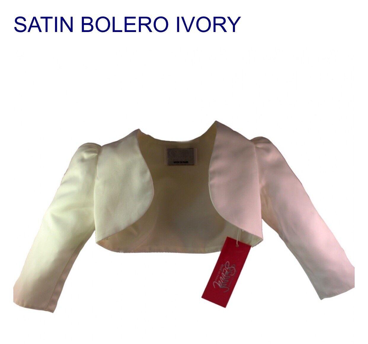Childrens Ivory Flower Girl Bridesmaids Satin Bolero Age 2
