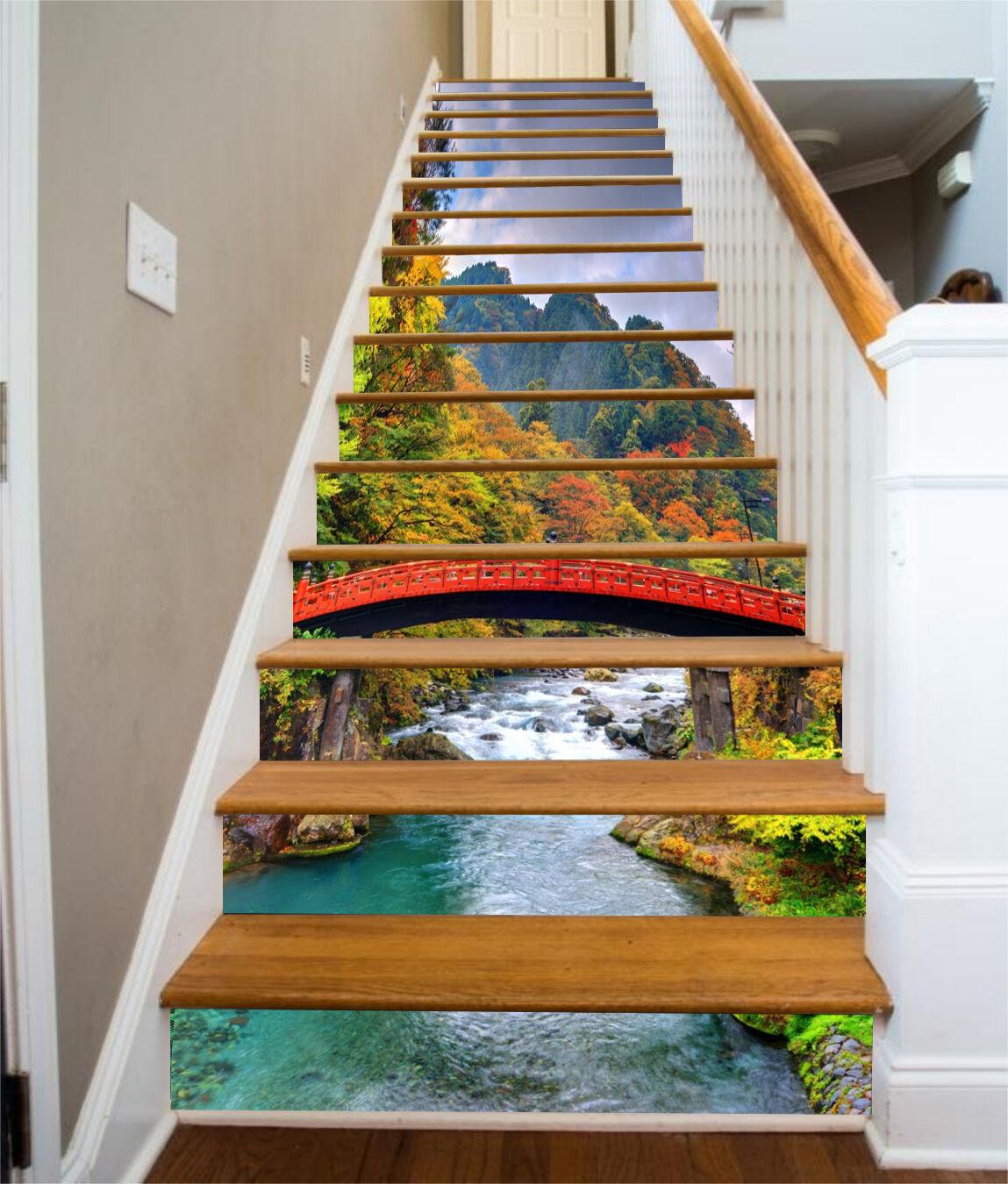 3D Grnen Fluss Stair Risers Dekoration Fototapete Vinyl Aufkleber Tapete DE