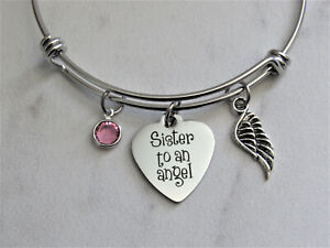 Details About Sister To An Angel Adjule Bangle Charm Bracelet Silver Wing