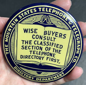 Mountain-States-Telephone-Telegraph-Celluloid-Paperweight-Mirror-Advertisin-Sign