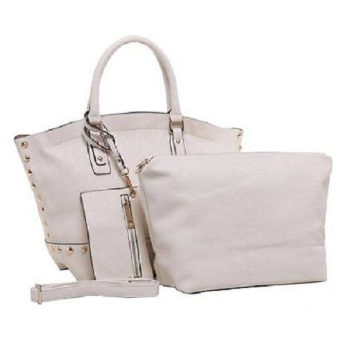 Details about  /MG Designer Handbag Weekender 3-In-1 Studded Tote Style Satchel /& Coin Purse