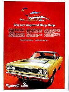 "1968 Plymouth Road Runner Beep Beep 383 High Lift Cam Original Print Ad 9 x 11"""