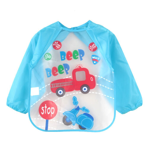 Baby Infant Kids Bibs Apron Waterproof Feeding Burp Long Sleeve Cloths Cartoon