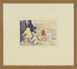 Barbara-P-Morgan-Signed-20th-Century-Watercolour-Searching-for-Crabs