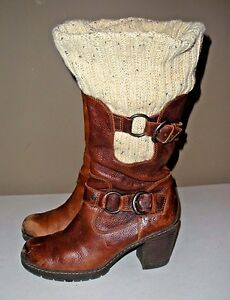 Women's BORN BOC Brown Leather Zip Buckle Knee High Boots Size 8/39