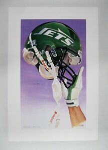 """New York Jets NFL Football 20"""" x 30"""" Team Lithograph Print by Kelly Russell"""