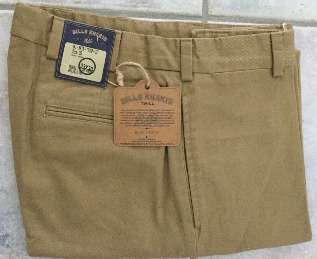 NWT -Bills khakis M1-BKTB Size 33X30 Heavy Cotton CUFFED BRITISH KHAKI
