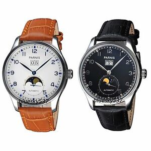43mm parnis moon phase automatic movement men watch datejust watch image is loading 43mm parnis moon phase automatic movement men watch