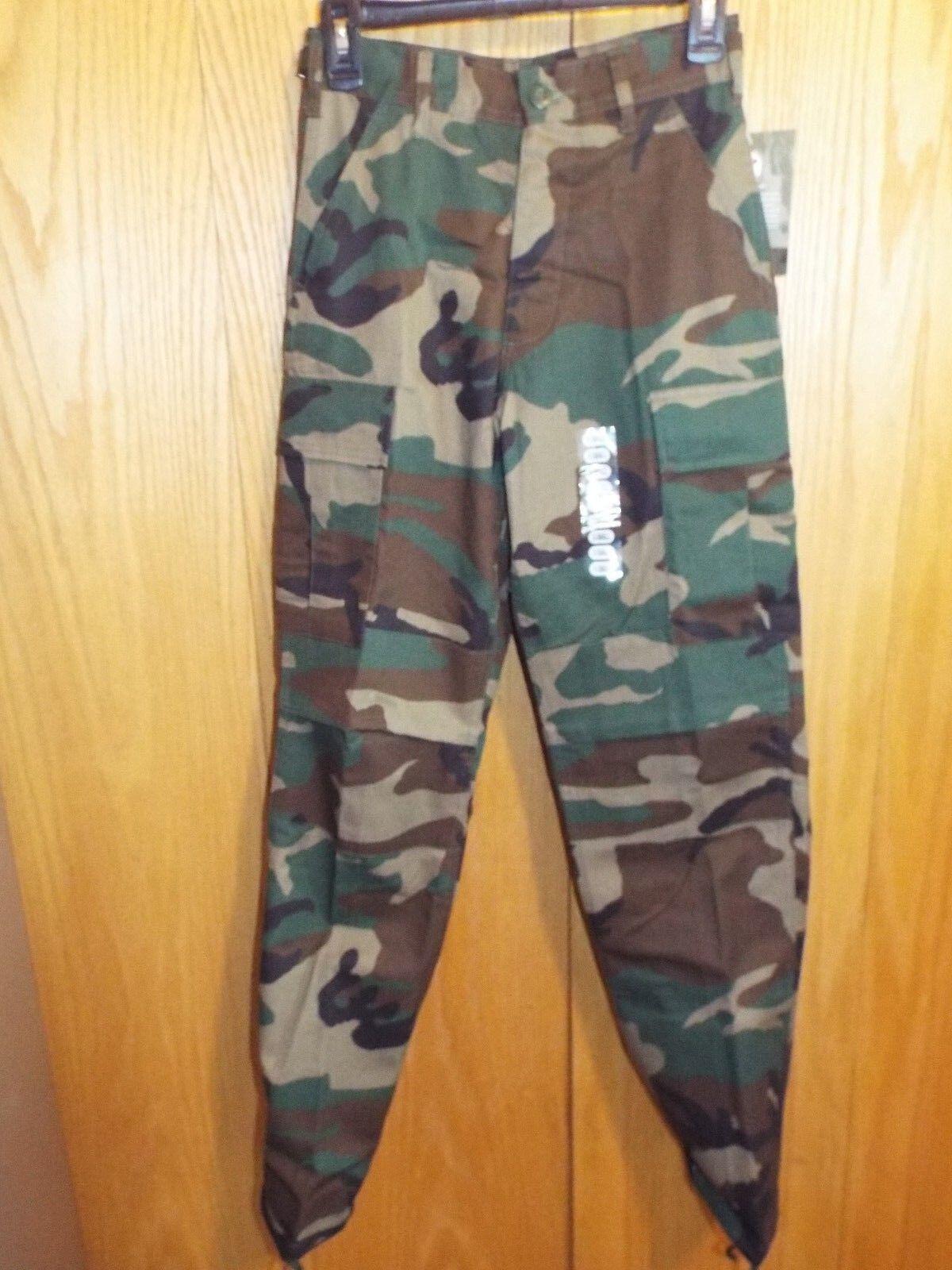 redhco Woodland Camo Military BDU Cargo Fatigue NON Rip-Stop Pants NWT XSMALL
