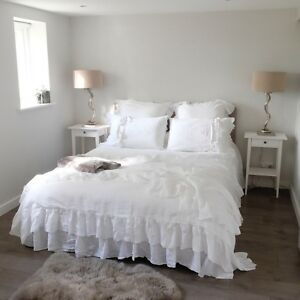 Linen bedding ruffled linen duvet cover shabby chic bedding uk us sizes ebay - Housse de couette shabby chic ...