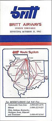 6011 Britt Airways system timetable 10//31//82 Buy 2 get 1 free
